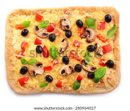 Delicious homemade pizza isolated on white - stock photo