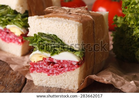 delicious homemade sandwich with salami, egg and greens wrapped in paper close-up on the table. horizontal