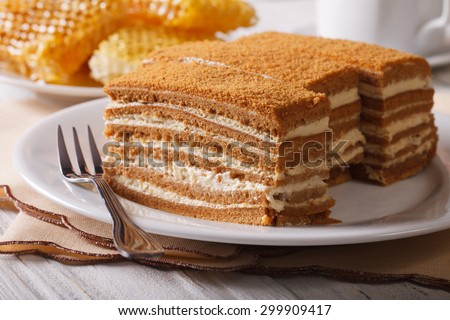 delicious honey cake on a plate close-up on a background of honeycomb. horizontal - stock photo