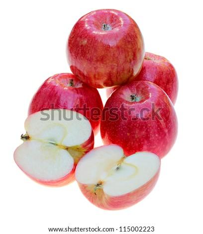 Delicious Honeycrisp apples isolated on white - stock photo