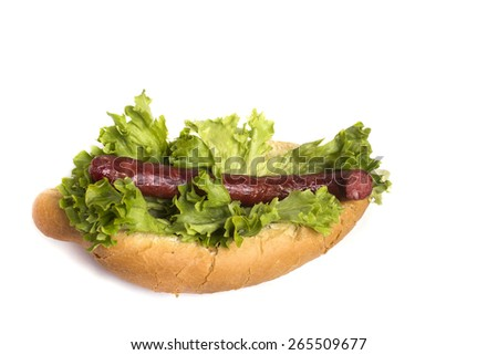 delicious hot bun with fresh lettuce and sausage - stock photo