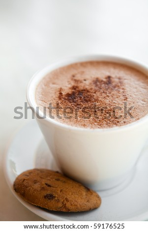 Delicious hot chocolate in a mug with a chocolate biscuit - stock photo