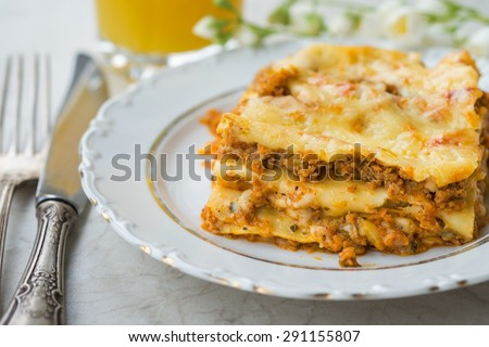 Delicious Hot Lasagna Homemade Food - stock photo