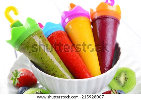 Delicious ice cream on plate on table close-up - stock photo