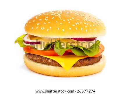 Delicious isolated cheese hamburger over white background - stock photo
