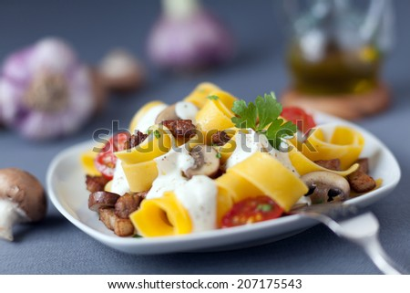 Delicious Italian cuisine of pappardelle noodles or pasta cooked with mushrooms and tomatoes and drizzled with a seasoned cream sauce with herbs - stock photo