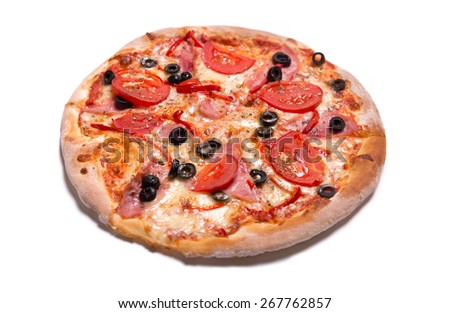 Delicious Italian pizza with ham, tomatoes, and olives, isolated on white background  - stock photo