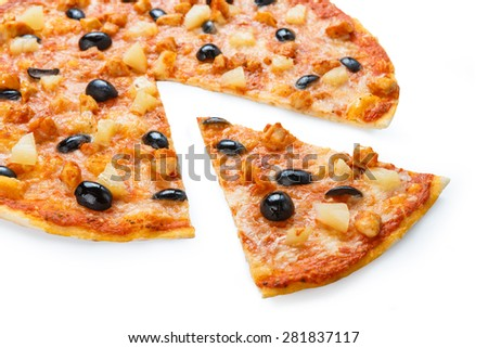 Delicious italian pizza with pineapple, chicken and black olives - thin pastry crust isolated at white background - stock photo