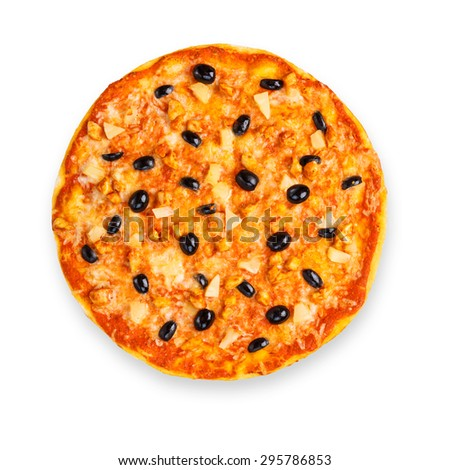 Delicious italian pizza with pineapple, chicken and black olives - thin pastry crust isolated at white background, above view - stock photo