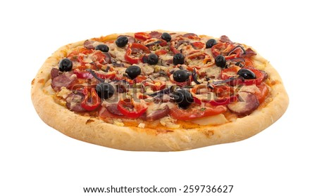 Delicious italian pizza with tomatoes and pepper isolated on white background - stock photo