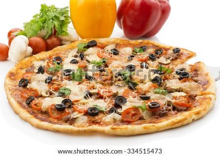 Delicious italian pizzas lifted slice 1 Isolated on wooden background - stock photo