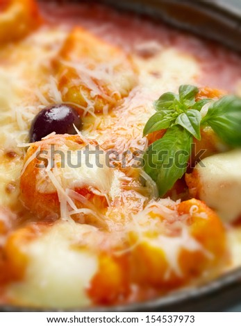 Delicious italian style casserole pasta dish with rich tomato sauce and plenty of shredded and melted mozzarella cheese. - stock photo