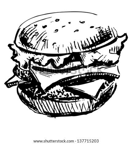 Delicious juicy burger. Sketch illustration - stock photo