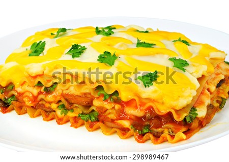 Delicious lasagna slice on a plate, isolated on white background - stock photo