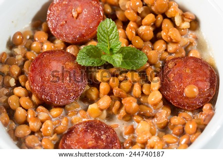 Delicious lentil stew with chorizo Iberico - stock photo