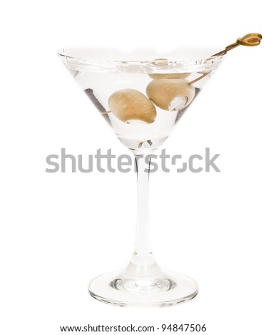 delicious martini garnished with bleu cheese stuffed olives isolated on a white background - stock photo