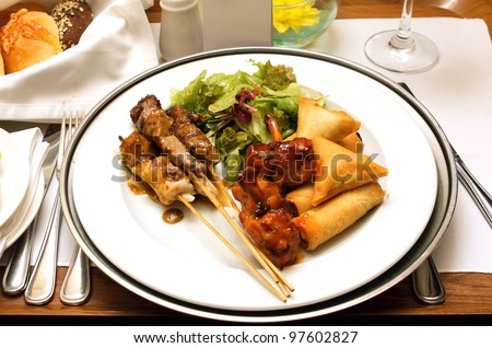 delicious meal in a restaurant - stock photo