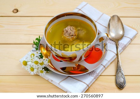 Delicious meat ball soup home cooking - stock photo