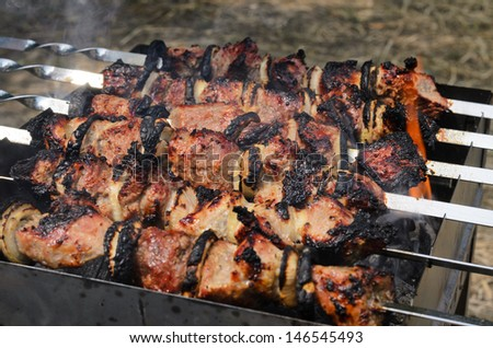 Delicious meat kebabs grilling over a fire on a portable metal barbecue at an outdoor picnic - stock photo