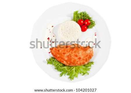 Delicious meat with mixed leaf salad an rice ready to eat on isolated white background - stock photo
