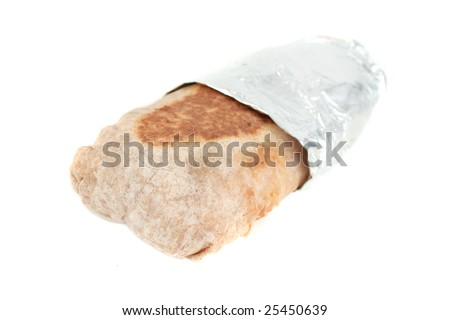delicious mexican toasted burrito still in takeout aluminum foil on a white background - stock photo