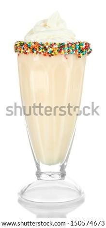 Delicious milk shake isolated on white - stock photo