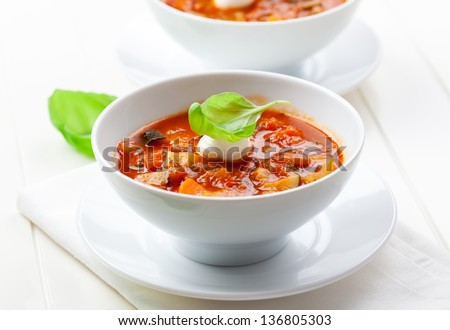 Delicious minestrone soup with mozzarella and basil - stock photo