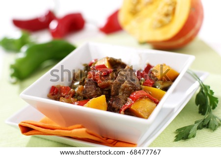 Delicious modern meat stew with vegetables - stock photo
