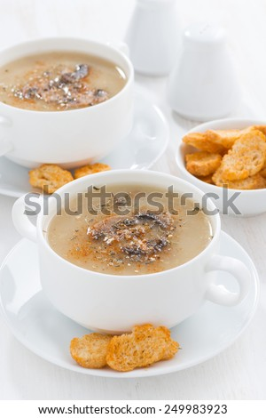 delicious mushroom cream soup with croutons, close-up, vertical - stock photo