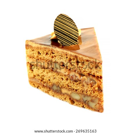 delicious nutty piece of cake isolated on white background - stock photo