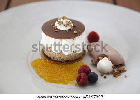 Delicious panna cotta dessert mixed berry . - stock photo