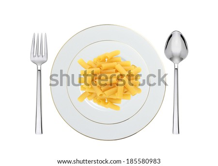 Delicious pasta with pesto on plate isolated on white - stock photo