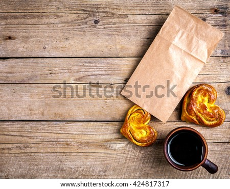 Delicious pastries for Breakfast with coffee. Morning, drinks, food - stock photo