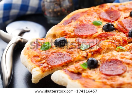 Delicious pepperoni pizza - stock photo