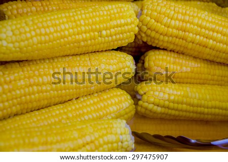 delicious pile of yellow corns close up - stock photo