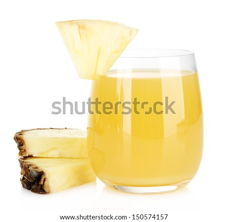 Delicious pineapple juice isolated on white - stock photo