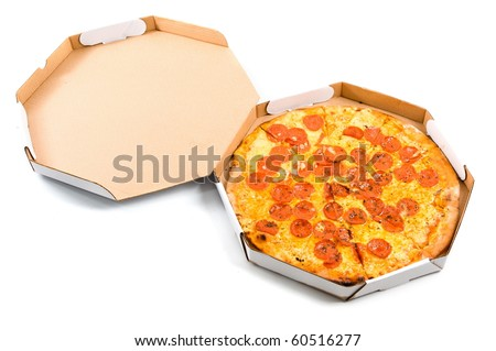 Delicious pizza in the delivery box on white . - stock photo