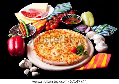 Delicious Pizza Marguerita - stock photo
