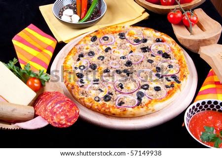 Delicious Pizza Tuna - stock photo