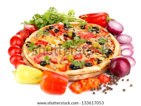 Delicious pizza with ingredients around isolated on white - stock photo
