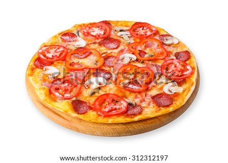 Delicious pizza with mushrooms, peppers and pepperoni - thin pastry crust at wooden round desk isolated at white background - stock photo