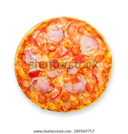 Delicious pizza with peppers, bacon and cherry tomatoes - thin pastry crust isolated at white background, above view - stock photo