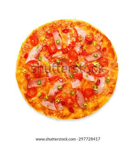 Delicious pizza with red and green hot chili peppers, bacon and cherry tomatoes - thin pastry crust at white background, above view - stock photo