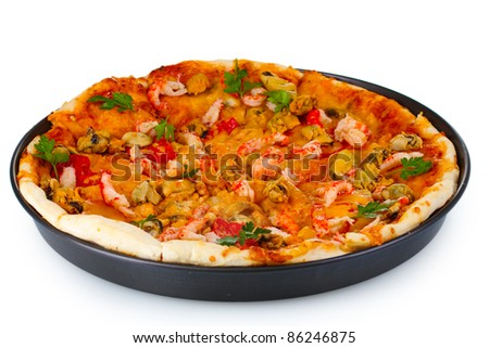 Delicious pizza with seafood on plate isolated on white - stock photo
