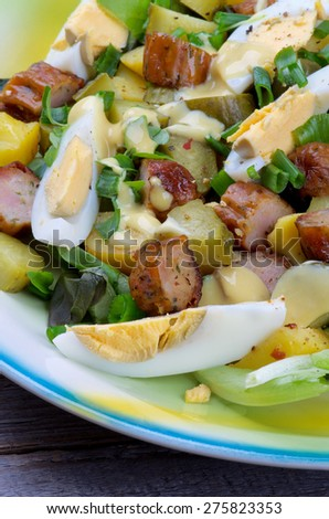 Delicious Potato and Sausage Salad with Gherkins, Lettuce, Boiled Eggs and Mustard Sauce closeup - stock photo