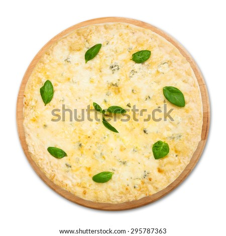 "Delicious ""Quaddro formaggi""  four cheese pizza with parmesan, cheddar, mozzarella and  blue cheese decorated with basil leaves - thin pastry crust at white background on wooden desk above view - stock photo"
