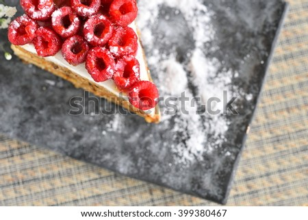 delicious raspberry cake - stock photo