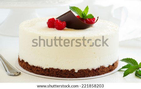 Delicious raspberry cake with raspberry jelly. - stock photo
