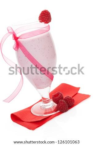 Delicious raspberry fruit shake with fresh raspberries isolated on white background. Fresh summer drinks. - stock photo