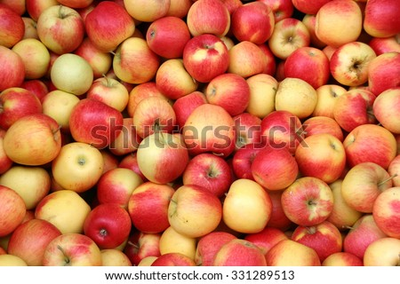 Delicious red apples, elstar variety, at a farmers market, Germany. - stock photo